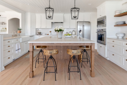 Kitchen with large island and white cabinets, contemporary iron pendant lighting fixtures above
