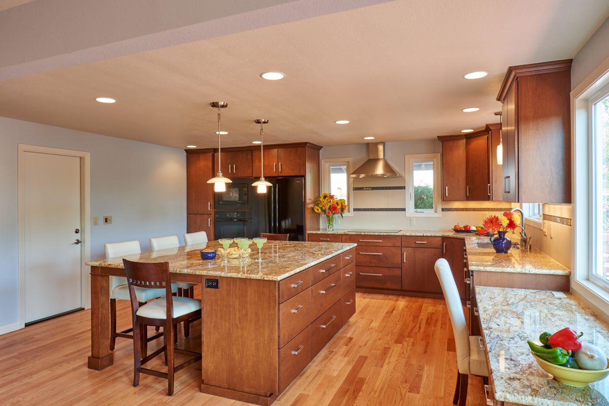 This kitchen expansion in Corvallis removed a center wall, creating an open feeling.