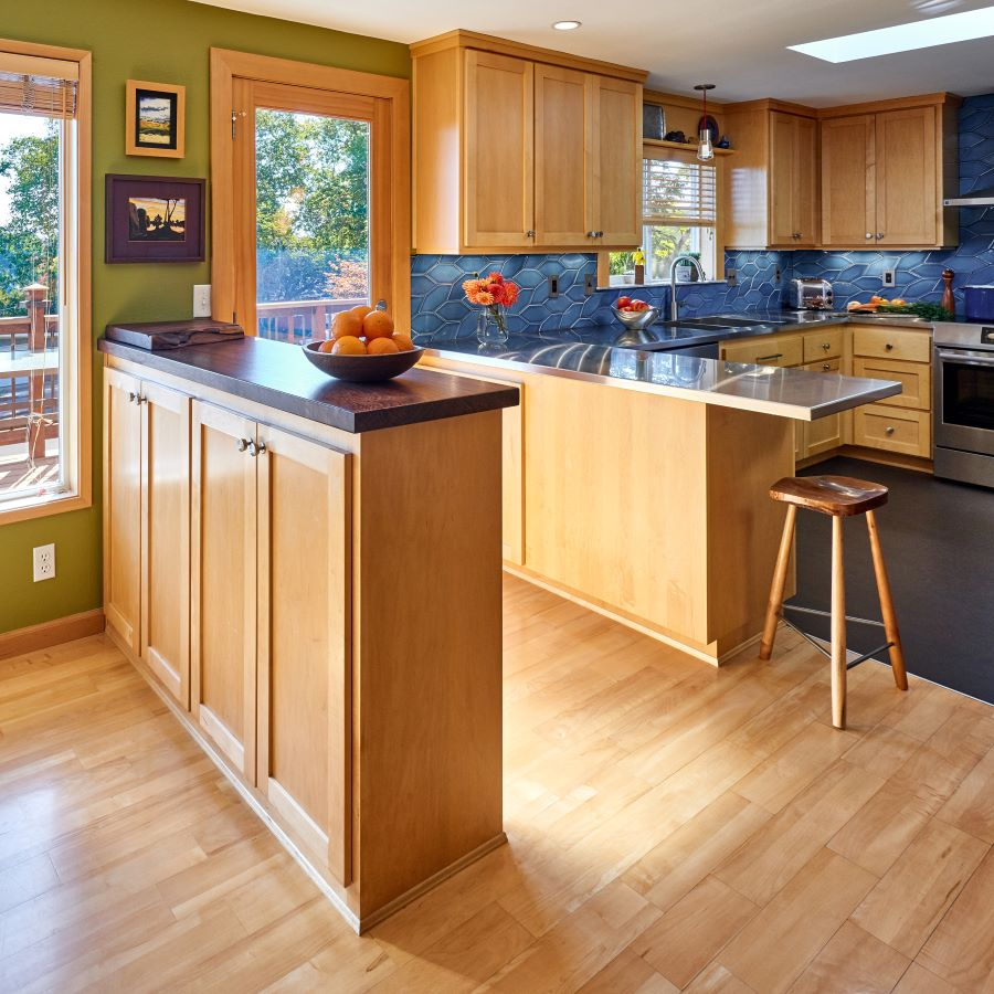Kitchen design with custom maple cabinets