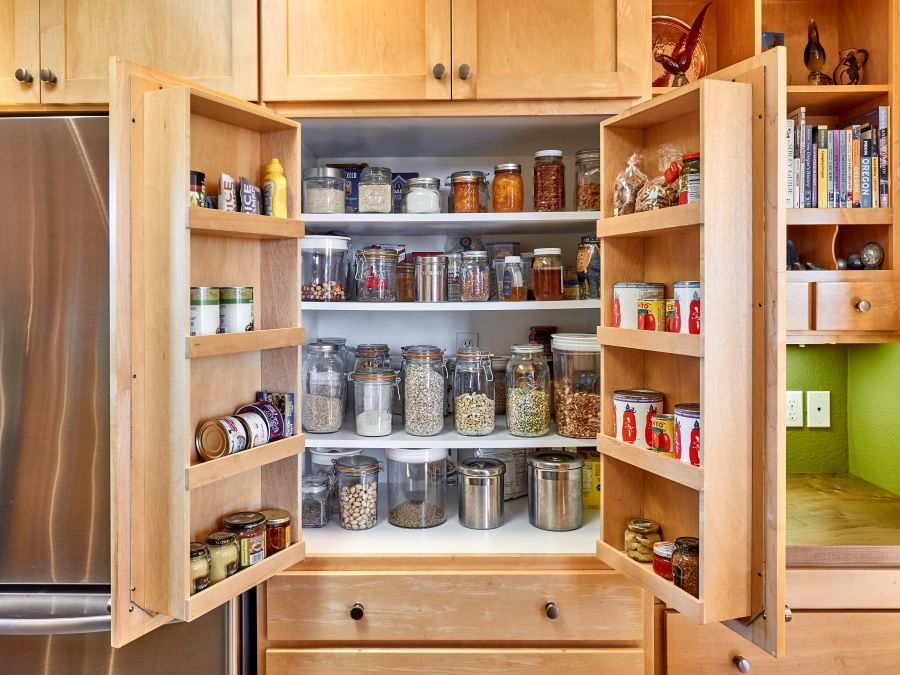 Custom pantry with door storage for canned goods