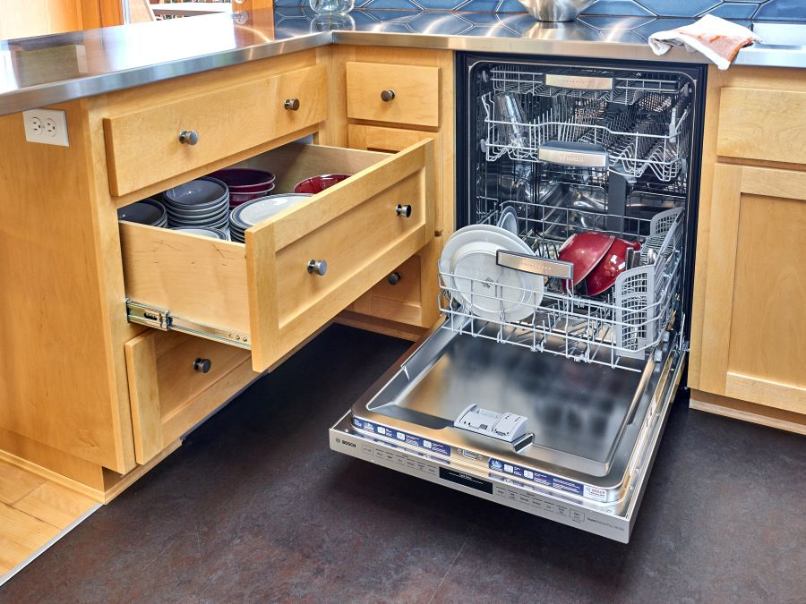 A drawer for dishes makes unloading the dishwasher a cinch