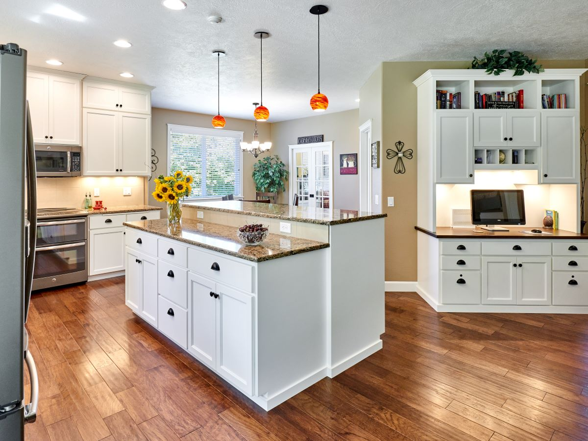 The newly remodeled kitchen features an open floor plan.