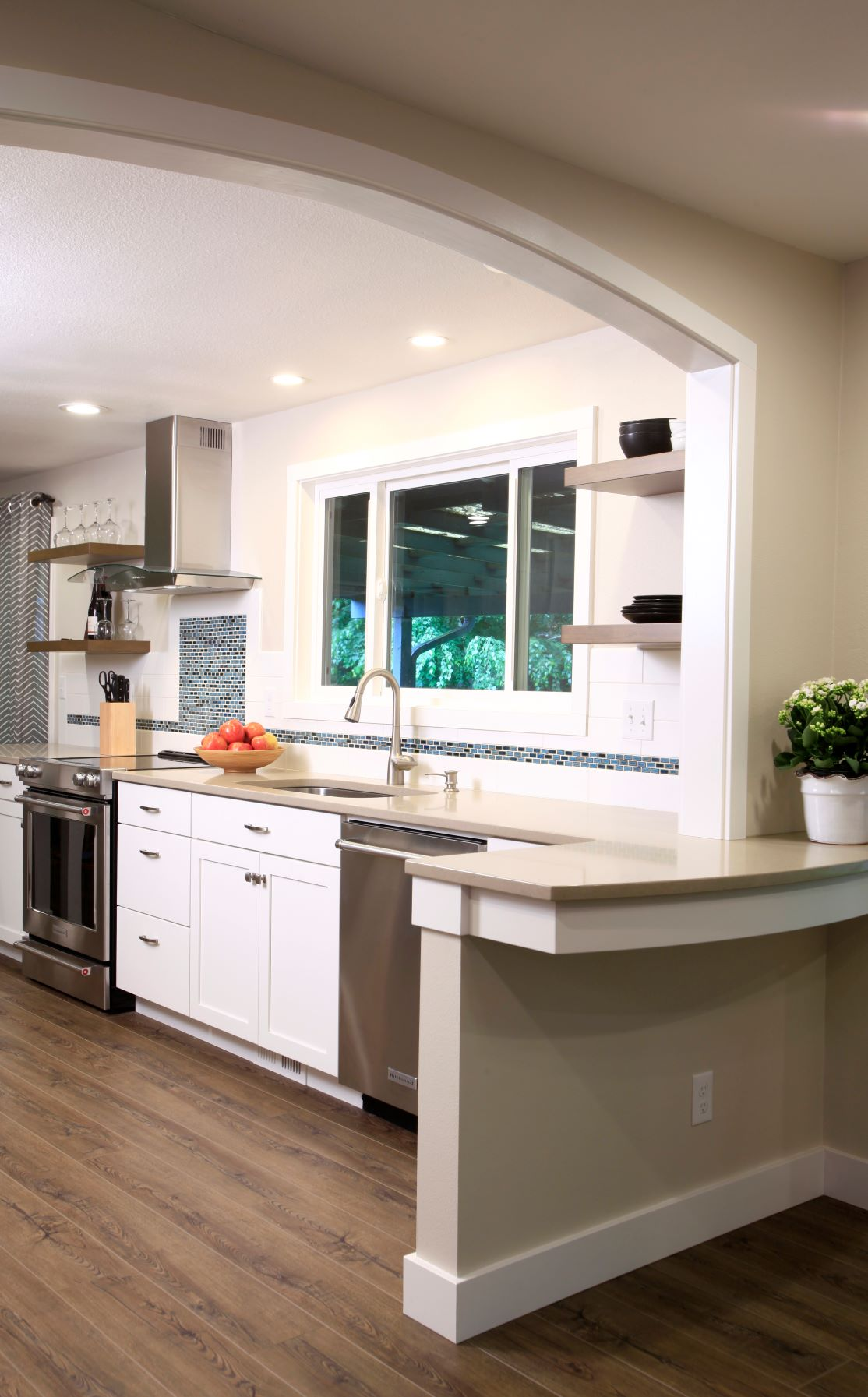 The renovated kitchen is much more functional, making better use of existing space.