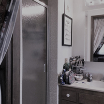 Old shower with low soffit ceiling