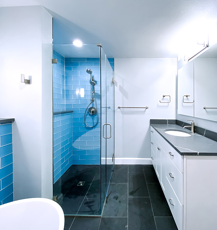 Curbless shower and master bathroom vanity